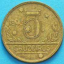 Бразилия 5 крузейро 1943 год. №1