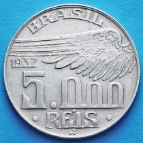 Бразилия 5000 рейс 1937 год. Альберто Сантос-Дюмон. Серебро.