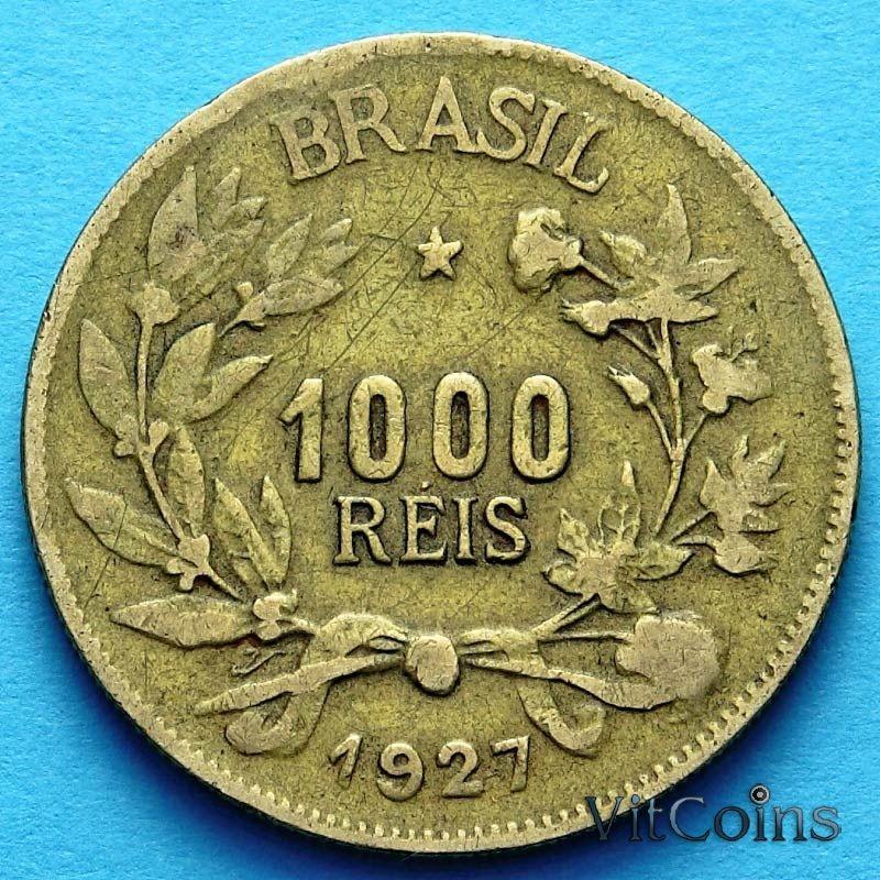 Монета Бразилии 1000 рейс 1927 год.
