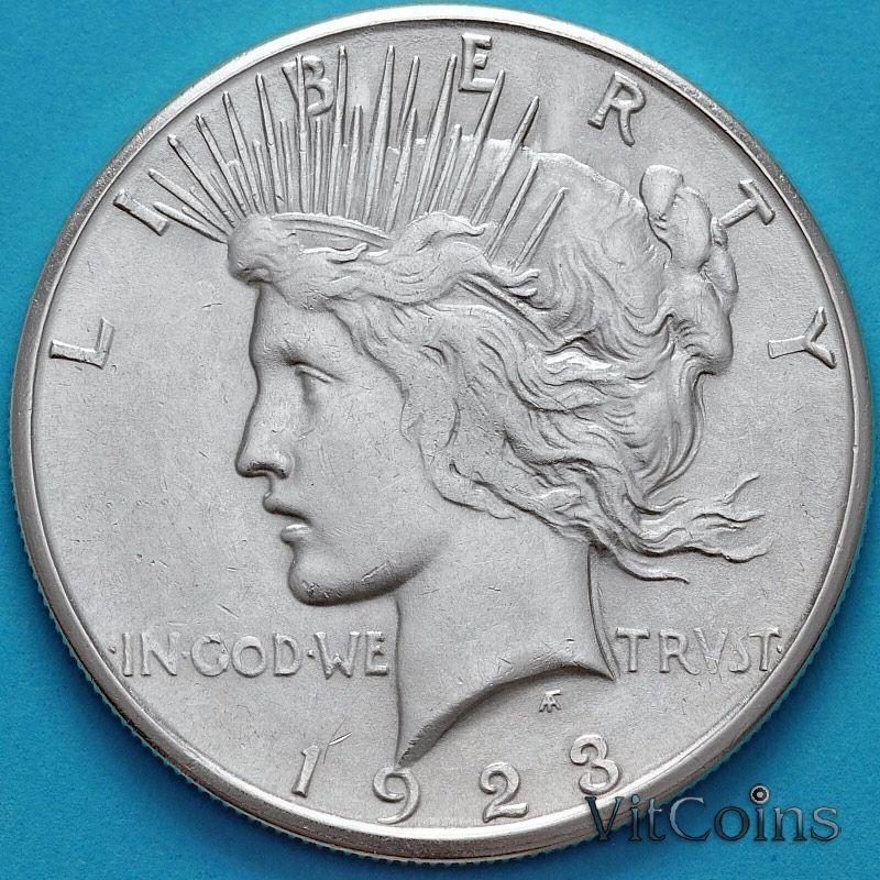 Монета США 1 доллар  1923 год. Мирный Доллар. Серебро.  S