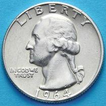 США 25 центов (квотер) 1964 год. D. Серебро