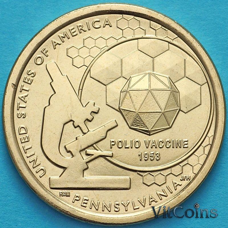 Монета США 1 доллар 2019 год. D. Вакцина против полиомиелита.