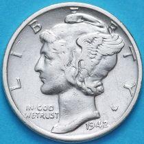 США 10 центов (дайм) 1942 год. D. Серебро