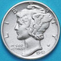 США 10 центов (дайм) 1943 год. D. Серебро