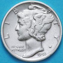 США 10 центов (дайм) 1941 год. D. Серебро
