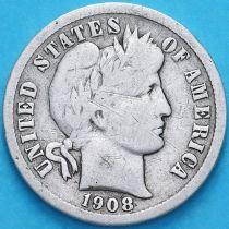 США дайм Барбера (10 центов) 1908 год. Филадельфия. Серебро.