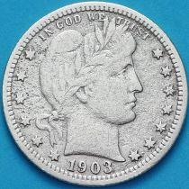 США квотер Барбера (25 центов) 1903 год. Филадельфия. Серебро.