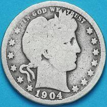 США квотер Барбера (25 центов) 1904 год. Филадельфия. Серебро.