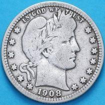 США квотер Барбера (25 центов) 1908 год. Филадельфия. Серебро.