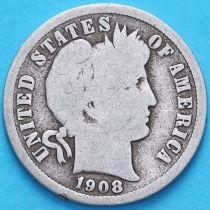 США дайм Барбера (10 центов) 1908 год. Денвер. Серебро.