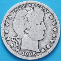США квотер Барбера (25 центов) 1908 год. Денвер. Серебро.