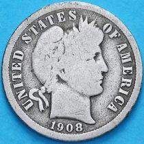 США дайм Барбера (10 центов) 1908 год. Новый Орлеан. Серебро.