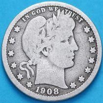 США квотер Барбера (25 центов) 1908 год. Новый Орлеан. Серебро.