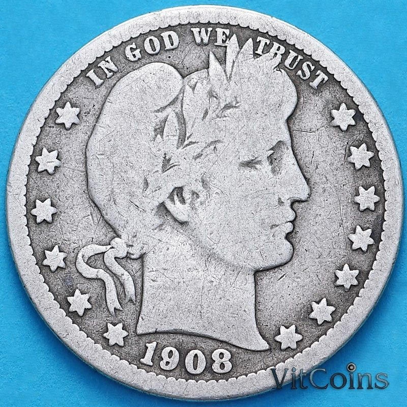 Монета США квотер Барбера (25 центов) 1908 год. О. Серебро.