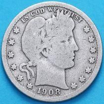 США квотер Барбера (25 центов) 1908 год. Сан-Франциско. Серебро.