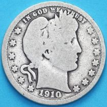 США квотер Барбера (25 центов) 1910 год. Филадельфия. Серебро.