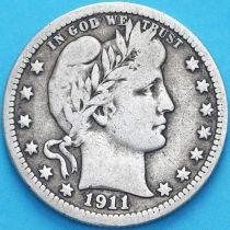 США квотер Барбера (25 центов) 1911 год. Филадельфия. Серебро.