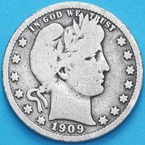 США квотер Барбера (25 центов) 1909 год. Денвер. Серебро.