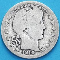 США квотер Барбера (25 центов) 1910 год. Денвер. Серебро.