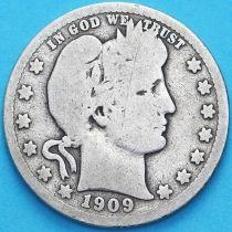 США квотер Барбера (25 центов) 1909 год. Сан-Франциско. Серебро.