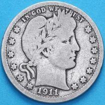 США квотер Барбера (25 центов) 1911 год. Денвер. Серебро.