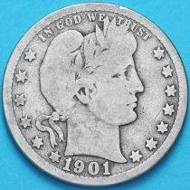 США квотер Барбера (25 центов) 1901 год. Филадельфия. Серебро.