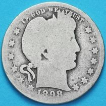 США квотер Барбера (25 центов) 1898 год. Новый Орлеан. Серебро.
