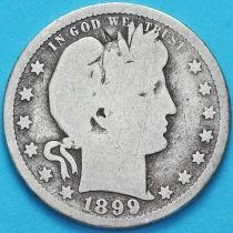 США квотер Барбера (25 центов) 1899 год. Новый Орлеан. Серебро.