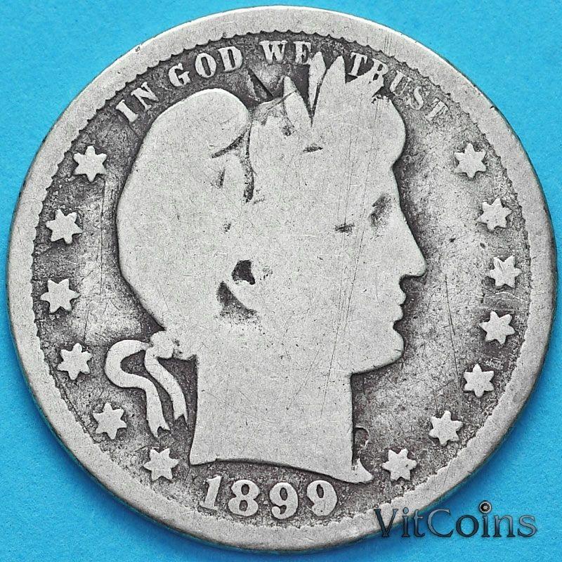 Монета США квотер Барбера (25 центов) 1899 год. О. Серебро.