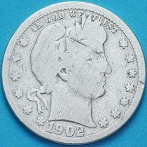 США квотер Барбера (25 центов) 1902 год. Новый Орлеан. Серебро.