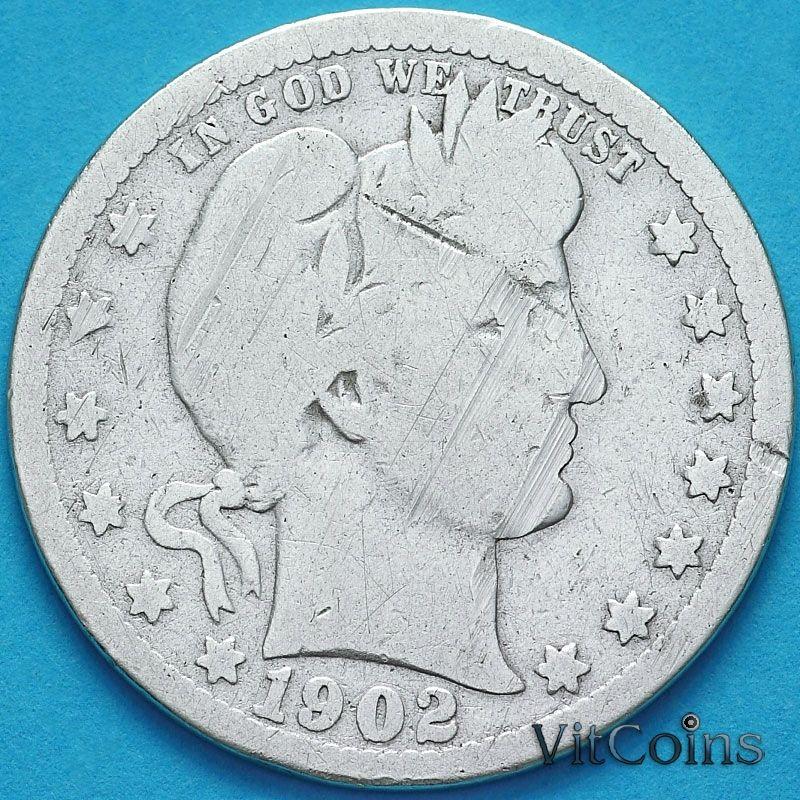 Монета США квотер Барбера (25 центов) 1902 год. О. Серебро.