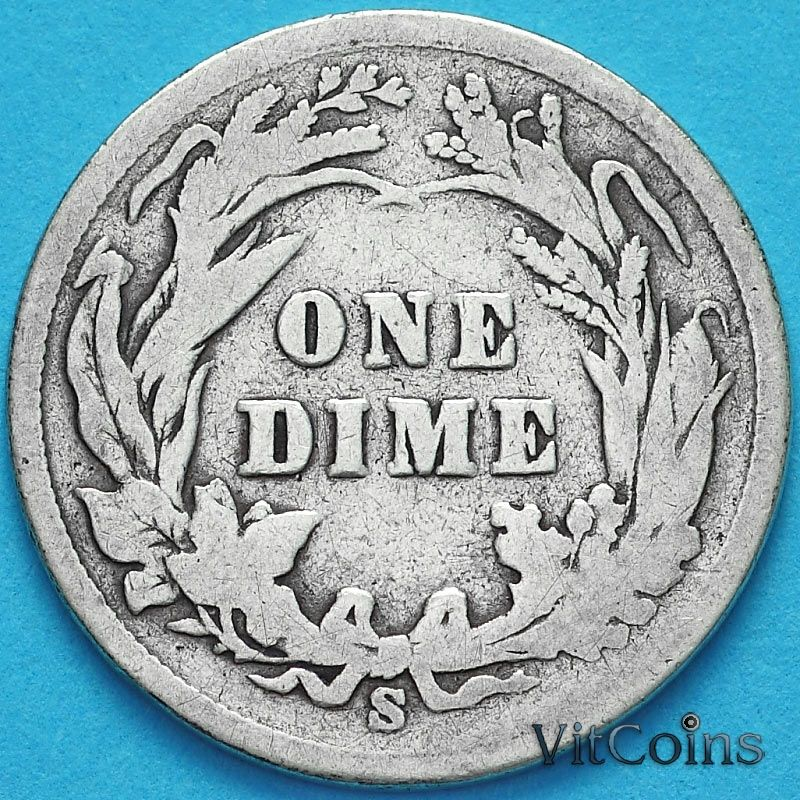 Монета США дайм Барбера (10 центов) 1899 год. S. Серебро.