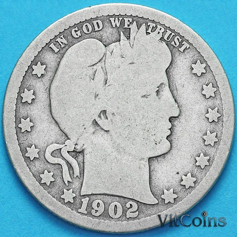 Монета США квотер Барбера (25 центов) 1902 год. S. Серебро.