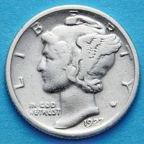 США 10 центов (дайм) 1927 год. Филадельфия. Серебро.