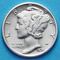 США 10 центов (дайм) 1934 год. Филадельфия. Серебро.