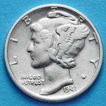 США 10 центов (дайм) 1941 год. Филадельфия. Серебро.