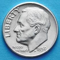 США 10 центов (дайм) 1959 год. Филадельфия. Серебро