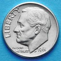 США 10 центов (дайм) 1961 год. D. Серебро