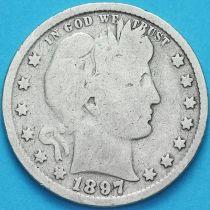 США квотер Барбера (25 центов) 1897 год. Филадельфия. Серебро.