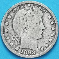США квотер Барбера (25 центов) 1898 год. Филадельфия. Серебро.