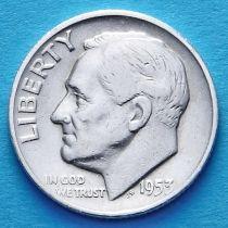 США 10 центов (дайм) 1953 год. Филадельфия. Серебро