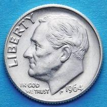 США 10 центов (дайм) 1964 год. D. Серебро