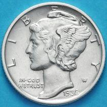 США 10 центов (дайм) 1938 год. D. Серебро