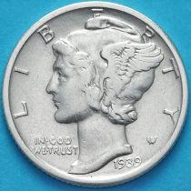 США 10 центов (дайм) 1939 год. D. Серебро