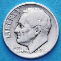 США 10 центов (дайм) 1946 год. Филадельфия. Серебро