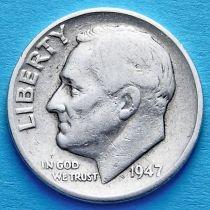 США 10 центов (дайм) 1947 год. Филадельфия. Серебро