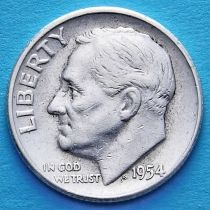 США 10 центов (дайм) 1954 год. Филадельфия. Серебро