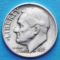 США 10 центов (дайм) 1956 год. Филадельфия. Серебро