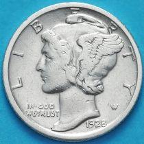 США 10 центов (дайм) 1928 год. Филадельфия. Серебро.
