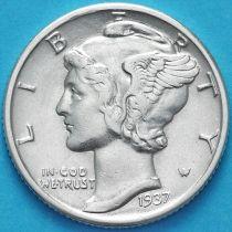 США 10 центов (дайм) 1937 год. Филадельфия. Серебро.
